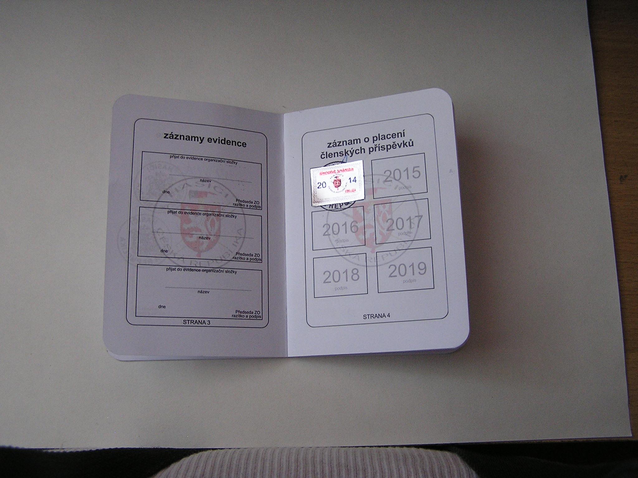 Záznamy evidence a záznam o placení čl. příspěvklů (budou se vylepovat známky